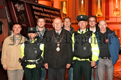 Getting the message across with a travelling billboard at Newry City Hall for Northern Ireland Anti Homophobia week which ran from the 1st to the 7th of November. Cllr Mick Murphy, Mayor, Newry and Mourne District Council is pictured with Chief Inspector, Sam Cordner, Area Commander for Newry and Mourne, PSNI; Constable Michaela Wilson, Neighbourhood Policing Team, PSNI and members of the Newry Rainbow Community, from left, Damian McKevitt, Rory Rafferty, Gary O'Rourke, Wes McCullough and Padraig Lynch. If you have been the victim of a homophobic incident please get in touch with the NRC either by ringing them on 028 30250528 or calling in to our Drop in Centre at 82a Hill Street which is open from 7pm to 10pm Monday to Friday and 2pm to 6pm Saturdays. They can offer advice and put you in touch with other services if necessary.