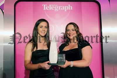 Press Eye - Belfast - Northern Ireland - 3rd November 2010 -  Picture by Kelvin Boyes / Press Eye. 2010 Belfast Telegraph Woman of the Year Awards in Association with Victoria Square at the Ramada Hotel. 3. BT Sportswoman of the Year   Winner: Caroline O'Hanlon (left) Sponsor: Leona Barr, Centre Manager Junction One International Outlet Shopping Centre