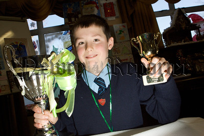 Pictured is Lewis Moore from Windsor Hill PS who was teh overall winner of the Christmas Art competition at Cloughreagh House. 10W51N2