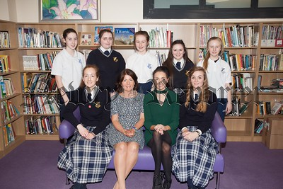 Moria Magee (VP Our Lady's PPU) and Naoimh McConville (MJM Group Sponsors) are pictured with current pupils who received the Past Pupils Awards. R1617018