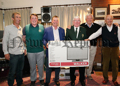 The winners of the Greenore Golf Classic, Shane Leatham, John McCormack, Dean Mulligan and Gary Leatham receive  their prizes from the sponsors Laurence Dunne, Bellurgan Servive Station and Eugene Duffy, Eugene Duffy Construction. at the presentatin night.
