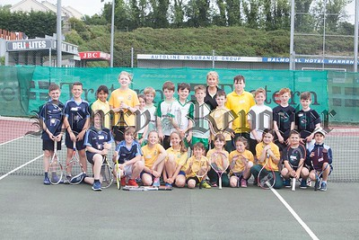 June McEvoy from Warrenpoint Tennis Club is pictured with pupils from Burren PS, Killowen PS, St Dallans, Dromore Road and Kilbroney Integrated who took part ion the schools Tennis Blitz. RS1725004