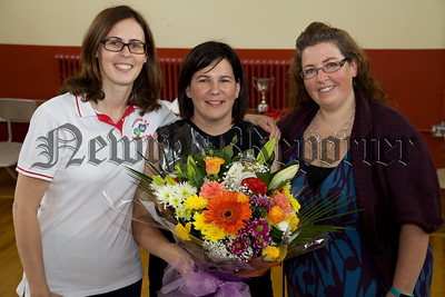 Bessbrook P.S held their school awards cermony last Friday and pictured here are Principal Mrs Hunter and Mrs Abbott with Mrs Archer. who is leaving after 15 years at the school. R1726021