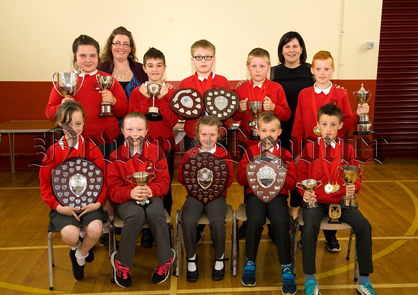 Bessbrook P.S held their school awards cermony last Friday and pictured here are Academic and Sports Award winners with Principal Mrs Hunter, special Mrs Archer. R1726023