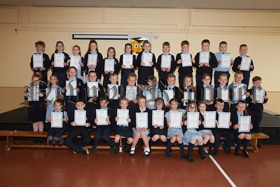 Pictured are Primary 6 and Primary 7 pupils at St Malachy's Ps Carnagat who participated in the Newry Lions Swim and Raised over £750. R1725058