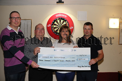 NEWRY AREA DARTS LEAGUE PRESENT CHEQUE TO WOMENS AID ARMAGHDOWN