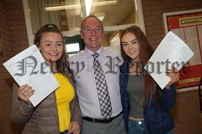 Sacred Heart Acting Principal Paul Kane is pictured with Caitlin McWilliams and Edea Casey. R1735005