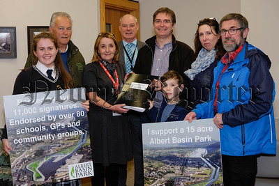 Campaigners present a petition with 11,000 signatures requesting a 15 Acre Public Park at the Albert Basin in Newry to Cllr Roisin Mulgrew, Chairperson, Newry, Mourne and Down Council and Council Chief Executive, Liam Hannaway.  Included from left are Aoife Hollywood, Oliver McGauley, Cllr Mulgrew, Mr Hannaway; Brian Cleland, Chairman, Newry 2020; Caiden Meaney Bradley, Sarah Meaney and Peter Maxwell.  Photograph: Columba O'Hare