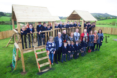St Brigids PS Drumilly pupils and staff are pictured with Newry, Mourne and Down Chairperson Roisin Mulgrew who officially opened their new playpark which was made possible by a grant from the BIg Lottery Fund. R1740001