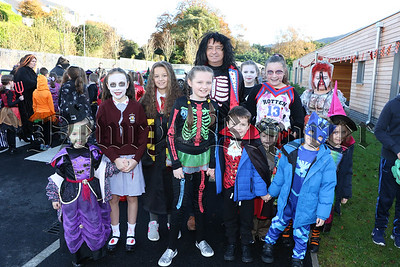 ST BRONAGHS PRIMARY SCHOOL HALLOWEEN WALK AROUND ROSTREVOR VILLAGE