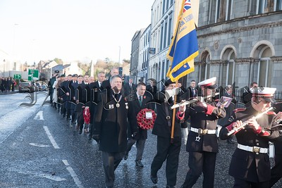 Wreath layers make their way to the Cenotaph in Newry for Rememberance Sunday. R1745003