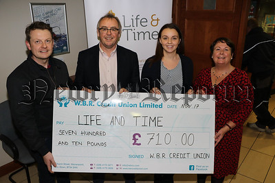 W.B.R CREDIT UNION PRESENT CHEQUE TO CHARITY 'LIFE AND TIME'