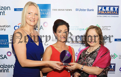Women in Business Awards 2017 Crowne Plaza - L-r: Andrea Hunter (Business Development Manager at Aer Lingus), Celine Grant from Re-Gen Waste Ltd and Imelda McMillan from Women in Business. R1748107