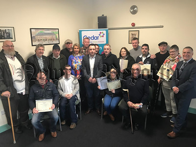 Participants onThe Cedar Foundations Inclusion Works service are presented with Certificates of Achievement for completion of OCR accreditation and in-house Brain Injury training. The event was attended by Councillor Pete Byrne, MLA Justin McNulty and MP Mickey Brady.