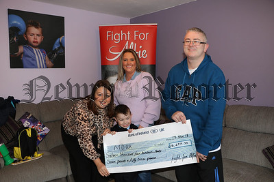 FIGHT FOR ALFIE CAMPAIGN PRESENT CHEQUE TO DUCHENNE MUSCULAR DYSTROPHY UK