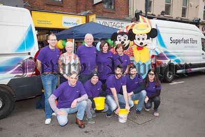 BT Staff joined forces with staff from Marie Curie hill Street Newry for a day of fundraising for the store. Pictured are Paddy McManus, Frank McManus (Head of BT Wholesale), Denise o'Neill, Jim Fallon, Brendan McVeigh (Former Down player), Paddy Rooney, Irene Curtis, Anne Marie McVeigh, Jamie Hanna and Eamonn McGovern. R1744005