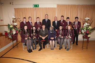 Students who received individual awards for their Endeavour and Contribution to subjects. The students are pictured with Principal, Mr. Jarlath Burns, Chairperson of Governors, Mrs. Eileen Fearon, Year Head, Mr. Bill Geoghegan and guest speaker, past pupil Dr. Johnny Feenan. R1749003