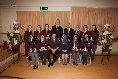 Pictured are students at St Paul's High School who received individual awards for Best Examination Results at GCSE. The students are pictured with Principal, Mr. Jarlath Burns, Chairperson of Governors, Mrs. Eileen Fearon, Year Head, Mr. Bill Geoghegan and guest speaker, past pupil Dr. Johnny Feenan. R1749002