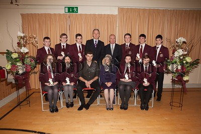 Pictured are students at St Paul's High School who received individual awards for Best Examination Results at GCSE. The students are pictured with Principal, Mr. Jarlath Burns, Chairperson of Governors, Mrs. Eileen Fearon, Year Head, Mr. Bill Geoghegan and guest speaker, past pupil Dr. Johnny Feenan. R1749001