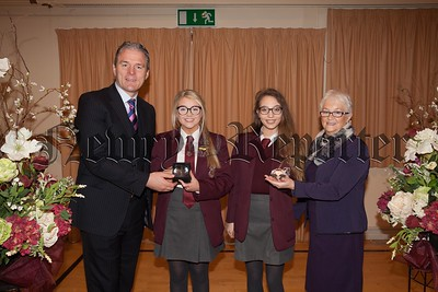 Students who received joint first in CCEA examinations in Northern IrelandWiktoria Snopek (Art and Design, and recipient of the True Colours Award)Dearbhla Clarke (Applied Business Studies)The students are pictured with Mrs. Eileen Fearon Chairperson of Governors and guest speaker Dr. Johnny Feenan (past pupil). R1749012