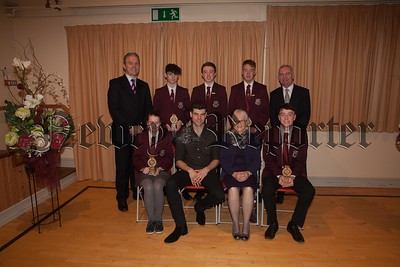 Students who received Awards for Outstanding Attendance over five years at St Paul's:  Clare Ward, Oisin Fearon, Mark O'Hare, Eoghan O' Callaghan, Eoghan Hughes.The students are pictured with Principal, Mr. Jarlath Burns, Chairperson of Governors, Mrs. Eileen Fearon, Year Head, Mr. Bill Geoghegan and guest speaker, past pupil Dr. Johnny Feenan. R1749008