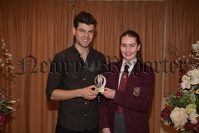 Pictured is the recipient of special awards for Music Caoimhe Hillen (Music)Pictured with guest speaker Dr. Johnny Feenan (past pupil). R1749010