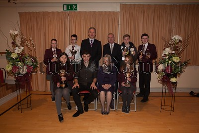 Students who received individual awards for their Endeavour and Contribution to subjects. The students are pictured with Principal, Mr. Jarlath Burns, Chairperson of Governors, Mrs. Eileen Fearon, Year Head, Mr. Bill Geoghegan and guest speaker, past pupil Dr. Johnny Feenan. R1749004