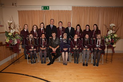 Recipients of Awards for Academic Excellence at GCSE:Katie Burns, Maureen Byrne, Mairead Campbell, Dearbhla Clarke, Oisin Fearon, Bianca Hughes, Sarah Kilgallon, Seanna Mc Ardle, Orlagh Mc Kenna, Sarah Mc Manus, Aoibheann Murphy, Cliodhna TierneyThe students are pictured with Principal, Mr. Jarlath Burns, Chairperson of Governors, Mrs. Eileen Fearon, Year Head, Mr. Bill Geoghegan and guest speaker, past pupil Dr. Johnny Feenan. R1749007