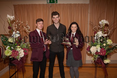 Pictured are the recipients of special awards for sport:   Amy Thorne (Netball) and Ryan Hughes (Football), The students are pictured with Mrs. Eileen Fearon Chairperson of Governors and guest speaker Dr. Johnny Feenan (past pupil). R1749009