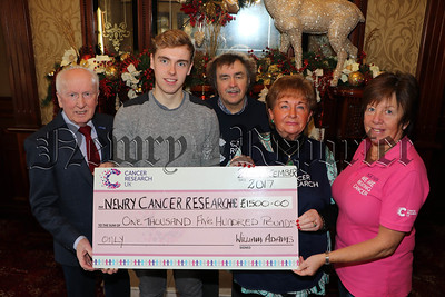CHEQUE FOR £1,500 PRESENTED TO NEWRY CANCER RESEARCH BY WILLIAM ADAMS
