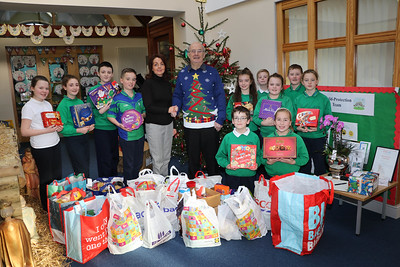 XMAS HAMPERS FROM ST RONAN'S PRIMARY SCHOOL PRESENTED TO ST. VINCENT DE PAUL