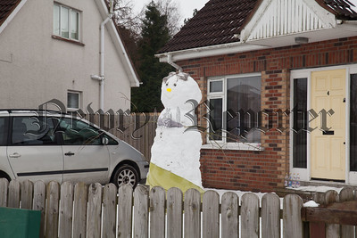 A Snowwoman covering up her modesty at Annsville Rathfriland Road. R1810019