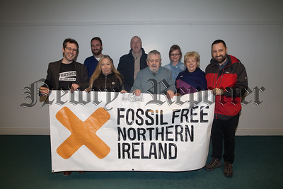 Rose McKevitt and Eugene Carroll from Newry are pictured with members of Friends of the Earth who visited the area last week to promote their group. Pictured are Niall Bakewell, Steve Blackwell, Jamie Peters, Dierdre Duff, Lowry Robinson and Tina Rothery. R1811006