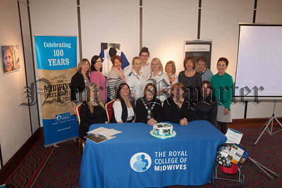 Roisin Mulgrew Chair of Newry, Mourne and Down DC is pictured with Midwives at the Arts centre Newry who are celebrating the 100th Aniversary of The Royal College of Midwives. R1811005