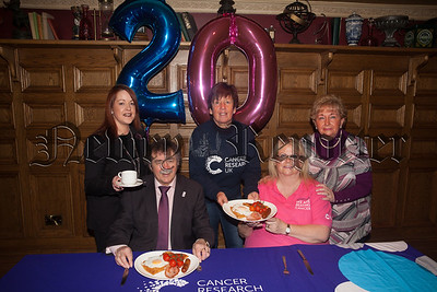 Pictured at the launch of the Cancer Research Big Breakfast to take place in Bellinis on  the 28th April are. Aibhin Frizell, Bernie Ward, Paddy O'Hanlon, Rae Dodds and Rosilind McCullough. R1812002