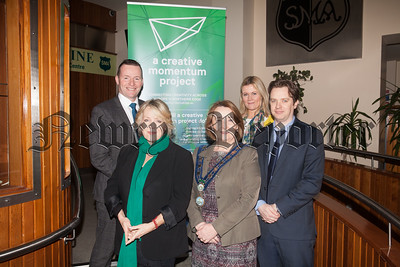 Pictured at Dromintine are guest Speaker jo Fairley, Chairperson of Newry, Mourne and Down DC Roisin Mulgrew, Martin Patterson, Mary Meehan and Niall Drew from the Creative Momentum Project. R1814001