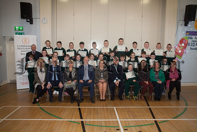 Community Restorative Justice Newry/Armagh has delivered a recent educational programme to Primary 7 pupils at St Patrick's PS Newry. The programme was funded by the Department for Communities through CRJI's Safer Stronger Communities Project. Pictured are Guest of Honour with Mr McClorey's Primary 7 class. R1814003