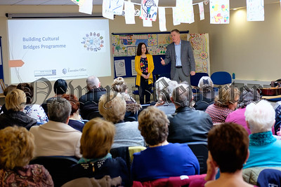 Conor Patterson, Newry and Mourne Co-Operative and Enterprise Agency speaking to guests at the final Building Cultural Bridges Programme event in Newry and Mourne Co-Operative and Enterprise Agency. Photograph: Columba O'Hare/ Newry.ie
