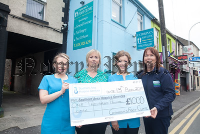 Majella Golloghy from Southern Area Hospice accepts a cheque for £1000 from Danielle Lynch, Cathrina Love and Lucia Magill from Cathrina's Foot Clinic Patrick Street Newry. The money was raised through generous donations made by patients who attended the clinic. R1816016