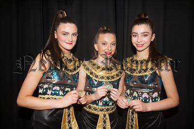 Paige Richardson, Ellie Ruddy and Abby Smyth who were winners of the Modern Trio 11-14 Ballet at Newry feis. R1816011