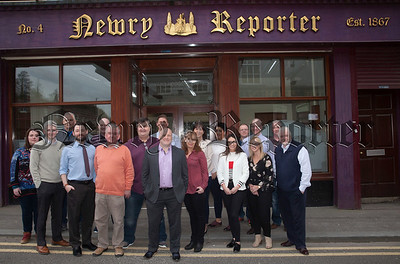 Staff of Newry Reporter outside building. R1817006