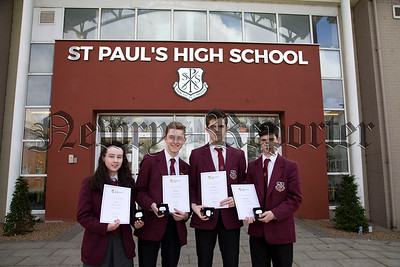 St Paul's H.S pupils Ann Carr, James Reavey, Daniel Quinn and Matthew Boyle pictured with their Silver President's Awards for personal achievement in Gaisce The President's Award. R1817003