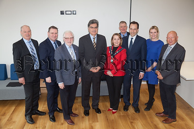 Italian Ambassador to Ireland is pictured with Liam Hannaway, Jonathan McKeown, Jerome Mullen, Roisin Mulgrew, Dr Conor Patterson, Mary Meehan and Michael McKeown. R1816022