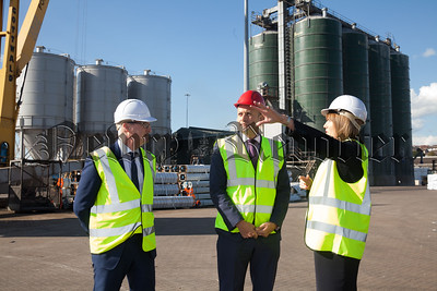 Taoiseach Leo Varadkar is pictured at Warrenpoint Port with Clare Guinness CEO and Ciaran Grant Financial Director. R1818020