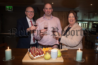 Philip and Jacqui Moore pictured with Andrew Irmie from KMW Wines and Spirits Kilkeel. R1818003
