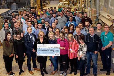 MJM Group at Carnbane in Newry have raised £21,500 for Southern Area Hospice after a year of dedicated fundraising activities. Employees raised £10,750 and the company kindly match funded the amount bringing it to £21,500.  Fiona Stephens, Southern Area Hospice was on hand to receive the cheque from MJM staff including Gary Annett, CEO  and MJM Social Committee  members Eimhear Goodwin, Damian Kearney, Nina Duffy, Elizabeth O'Connor and Emma Keenan. Photograph: Columba O'Hare/ www.newry.ie