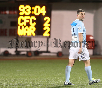 Press Eye - Belfast - 6th January 2018    Cliftonville v Warrenpiont Town, Tennents Irish Cup 5th round at Solitude, North Belfast.  Warrenpiont Town's Matthew Tipton leave the pitch after receiving a red card  Picture by Matt Mackey / Inpho.ie