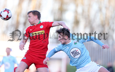 Press Eye - Belfast - 6th January 2018    Cliftonville v Warrenpiont Town, Tennents Irish Cup 5th round at Solitude, North Belfast.  Cliftonville's Liam Bagnall in action with Warrenpiont Town's Liam McKenna  Picture by Matt Mackey / Inpho.ie