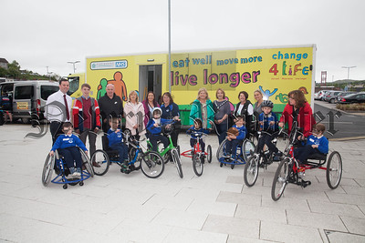Newry, Mourne and Down Chairperson Roisin Mulgrew is pictured with pupils from St Colamns Abbey along with council officials at Newry Leisure centre at a Change for Life Campaign which encourages people to Eat Well, Move More and Live Longer. R1821001