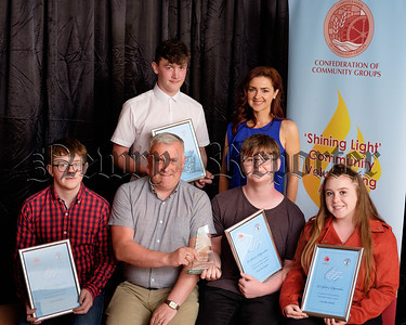 Colin Kavanagh, The Quays, sponsor and  family representative Seanín Graham with Nominees in the Age 16-24 category at the Confederation of Community Groups, Patricia Graham Shining Light Community Volunteering Awards 2018 in the Canal Court Hotel, Newry. Front from left: Oisin Goodwin, St Mary's Youth Club; Colin; Josef McGuigan, Carnagat Area Community Association (Award recipient) and Caroline Shields, Newry Gateway Club. Back: Josh Brown, Bessbrook Youth Club and Seanín. Photograph: Columba O'Hare/ Newry.ie